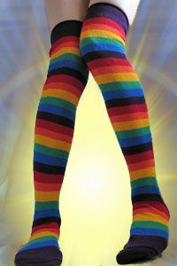 Rainbow Dreams - Our very own Dreamy rainbow over the knee socks in pastels and bold shades of cotton.  Made in the USA.