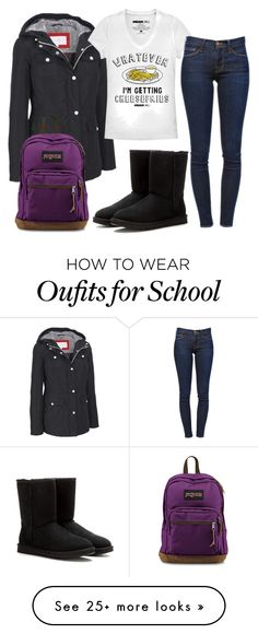 """freakin school...."" by mm-allforfashion on Polyvore featuring moda, Jessica Simpson, Fifth Sun, Frame Denim, UGG Australia e JanSport"