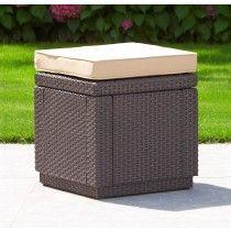 Allibert Cube Footstool & Table Brown