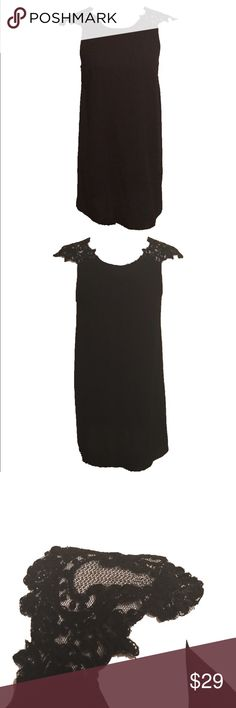 LF black shift dress with lace shoulders No zip, pull over shift dress, super lightweight, unlined, 30 inches in length. LF Dresses