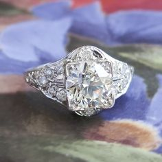Vintage Art Deco 1930's EGL Certified 2.49ct t.w. Old European Cut Diamond Engagement Ring Platinum