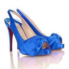 Cheap Christian Louboutin Very Noeud Slingbacks Blue on sale - $114.66