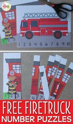 Use these free fire truck printables to teach number recognition and number order. Both fire truck number puzzles will be great addition to your preschool fire safety or community helper units. Free Preschool, Preschool Themes, Preschool Activities, Preschool Fire Safety, Preschool Centers, Fire Truck Activities, Pre K Activities, Space Activities, Family Activities