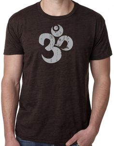 "Mens GREY DISTRESSED OM Burnout Tee, Large Chocolate. The sacred OM symbol sits atop this cool, lightweight shirt!. Popular lightweight ""burnout"" style tee. Cotton/Poly blend. ""Yoga Clothing for You"" guarantees your satisfaction on every purchase!."