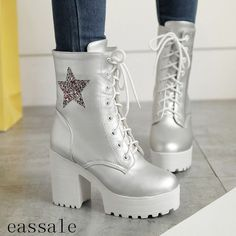 Fashion Womens Punk High Chunky Heels Platform Lace-Up Goth Mid-Calf Boots Shoes