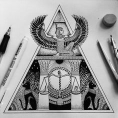 Excellent simple ideas for your inspiration Egyptian Goddess Tattoo, Egyptian Tattoo Sleeve, Egyptian Eye Tattoos, Tattoo Sketches, Tattoo Drawings, Body Art Tattoos, Sleeve Tattoos, Tatoos, Tattoo Bauch