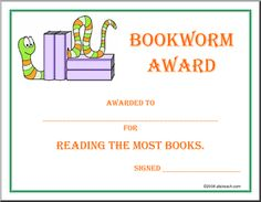 Bookworm award - could adapt for reading the most minutes, books per grading period or year, etc. Word Challenge, Reading Challenge, Preschool Certificates, Teacher Hacks, Teacher Stuff, Certificate Of Achievement Template, Writing Area, Free Printable, Printable Worksheets