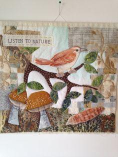 Mini art quilt fiber art fabric art quilt by SuzanneInOhio on Etsy