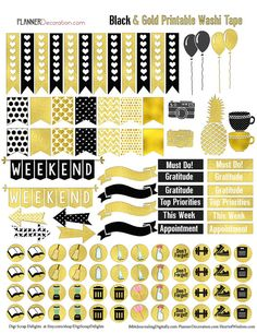 Gold Foil Printable Planner Stickers for Erin Condrin Planner EC Black & Gold Elegance #planner #plannerlove #decoration #decor #organization #stickers #newyears #gold #black #ec #erincondren