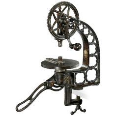 """427: Jeweler's Drill Press, c. 1860 : Lot 427Jeweler's Drill Press, c. 1860 Manufacturer probably """"Humphrey, Springfield, Mass., USA"""", made of cast iron, steel and brass, japanned, decorated with golden ornament, height: 18 1/2 in, working"""