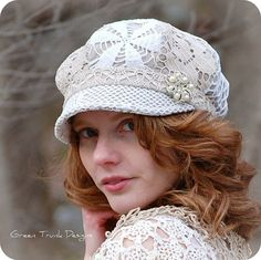 Shabby Chic Heirloom Lace Newsboy Hat by Green Trunk Designs. I spent many hours carefully crafting this lovely hat for my Heirloom collection.