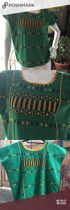Hand embroidered Huipil Hand embroidered Huipil in green with yellow and black embroidery. Small/medium Tops Blouses