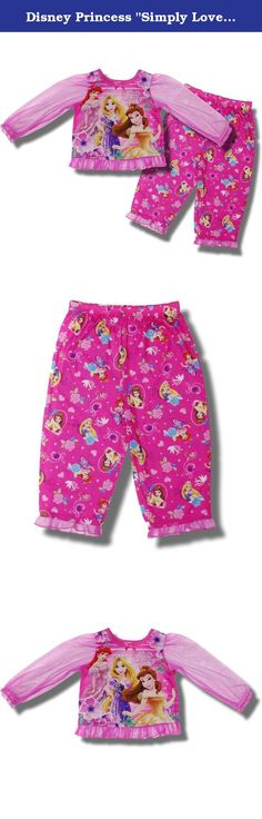 """Disney Princess """"Simply Lovely"""" 2-piece Pink Pajama Set for toddler girls - 2T. This 2-piece set features the Disney Princesses Ariel, Belle and Rapunzel .The long sleeves are made of pink see through mesh. The bottoms have an all-over pattern of roses, hearts and images of the Princesses. Machine Washable. Imported."""
