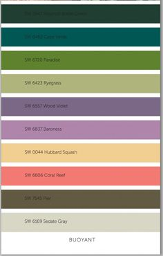 2015 Sherwin Williams Paint Color Forecast. This collection is called Buoyant which are more vibrant colors but still muted.