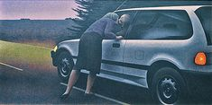 Kiss with Honda — painting by Alex Colville- 1989 SMALL PAINTING. awkward figures, faces obscured again. headlights on. Alex Colville, Canadian Painters, Canadian Artists, Magic Realism, Realism Art, Christopher Pratt, Order Of Canada, Art Gallery Of Ontario, Group Of Seven