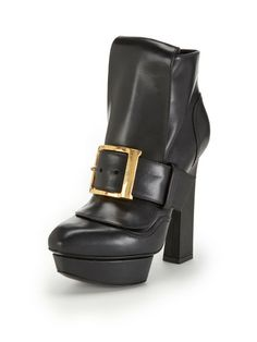 Leather Platform Buckle Ankle Bootie by Alexander McQueen