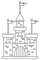 Drawing of a cartoon castle