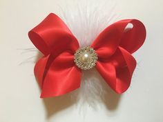 Christmad Red White Satin Boutique Hair by FancyGirlBoutiqueNYC