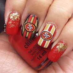 San Francisco 49ers by nailsbyalexiz #nail #nails #nailart | See more nail designs at http://www.nailsss.com/french-nails/2/