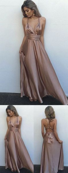 Sexy V Neck Maxi Dress,Gorgeous Satin Prom Dress,Sleeveless Prom Dresses,Long Evening Dress, Sexy Back Prom Dresses #coffepromdresses #sleevelessprom #sexypromdresses #promdress #longpromdress #eveningdress #promdresses #partydresses #2018promdresses #Prettylady