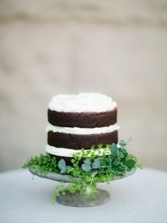 naked cake with greenery