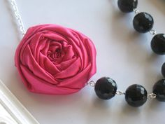 Night Out fabric flower necklace beaded by HappyLittleLovelies, $26.00