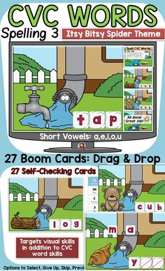 The 27 Nursery Rhyme (Humpty Dumpty) themed Boom Digital Cards will reinforce students' understanding of spelling CVC short vowel words. This is set 3 in the CVC spelling series. It targets students' visual skills in addition to their knowledge of spelling CVC short vowel words. Nursery Rhyme Theme, Nursery Rhymes, Word Skills, Phonemic Awareness Activities, Social Studies Resources, Teaching Phonics, Short Vowels, Humpty Dumpty, Cvc Words