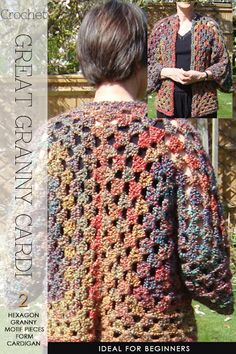 Needlecrafts - Crochet, Hexagon Granny Cardigan                    Large image |   here   Inset images |    here      Granny squares hav...