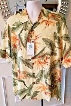 dbacaa9b Jamaica Jaxx Men's Hawaiian Shirt Size M Yellow Bird Paradise Flower Aloha  B6 #JamaicaJaxx #
