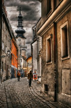 Old Bratislava street - Slovakia World Cities, Countries Of The World, Places To Travel, Places To See, Places Around The World, Around The Worlds, Bratislava Slovakia, Historical Architecture, Drawing Architecture