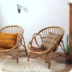 2 Fauteuils baquet en rotin   revoila objets et mobilier du XXe siècle