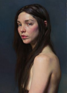 """Lonni"" - Nelson Shanks, oil on canvas {contemporary figurative artist female head shoulders woman face portrait painting}"