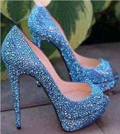 Gorgeous Blue Coppy Leather Rhinestone Decoration Platform High Heel Shoes