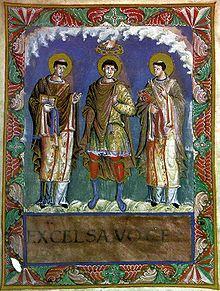 Karolingische Buchmalerei Karl der Grosse mit den Paepsten Gelasius und Gregor ! im Sakramentar Karls des Kahlen  (Hofschule Karls des Kahle, um 870)