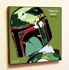 Boba Fett StarWars Super Hero Motivational Quotes Wall Decals Pop Art Gifts Portrait Framed Famous Paintings on Acrylic Canvas Poster Prints Artwork Geek Decor Wood 20 x 20 >>> Click image for more details.