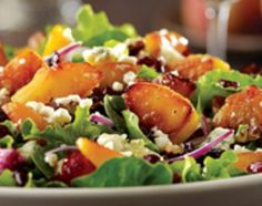 California Pizza Kitchen - Menu items, Caramelized Peach Salad. Greens, spinach, warm caramelized peaches, cranberries, red onions, toasted pecans & Gorgonzola tossed in white balsamic vinaigrette.