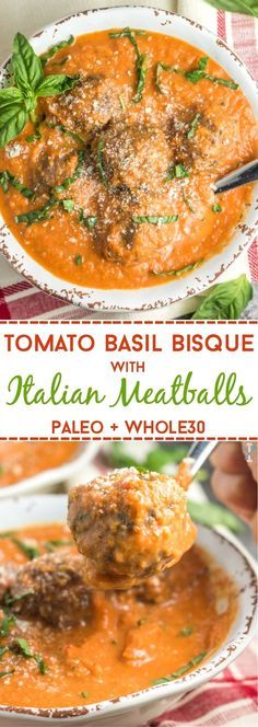 This dairy-free, Paleo, and tomato basil bisque with Italian meatballs is an easy winter soup with simple ingredients! This dairy-free, Paleo, and tomato basil bisque with Italian meatballs is an easy winter soup with simple ingredients! Paleo Soup, Paleo Pasta, Whole Foods, Paleo Whole 30, Whole 30 Soup, Whole 30 Tomato Soup, Whole 30 Meals, Whole 30 Recipes, Food Dinners