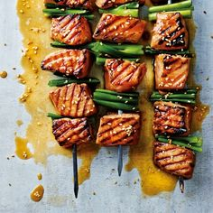 Wasabi salmon skewers recipe from The Medicinal Chef Healthy Every Day by Dale Pinnock salmon recipes Best Salmon Recipe, Salmon Recipes, Fish Recipes, Seafood Recipes, Cooking Recipes, Healthy Recipes, Wasabi Recipes, Barbecue Recipes, Barbecue Sauce
