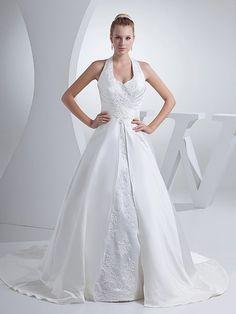 Maicey - robe de mariée mode de bal dos nu en satin avec appliqués