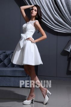 bc00b1abac2de Short Bow Collar Boat Neck Wedding Dress  collar  dress  short  wedding  キュート. キュートなウェディングドレス ...