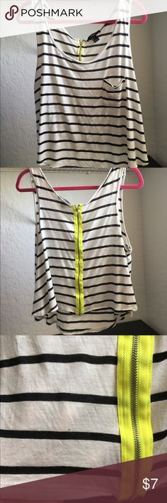 Forever 21 Striped Top Please read description NWOT I bought this online and it arrived in this condition, I didn't feel like going through the hassle to return it. There are three minor holes on this shirt and they are all pictures. They're not very noticeable  reasonable offers considered Forever 21 Tops Tank Tops