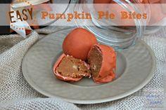 Easy Pumpkin Pie Bites ~ Made with boxed cake & pumpkin! Full recipe on lovinourchaos.com