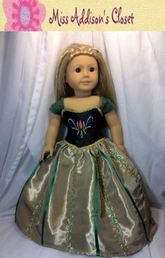 Disney's Frozen Inspired Princess Anna Coronation 18 inch Doll Dress on Etsy, $39.00