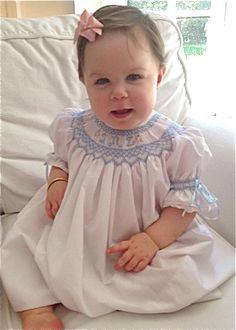 Smocked Bishop Dress with Monogram Smocking Blue por GumdropGrove