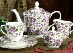 violets tea set - Old Sweetwater Cottage: ...violets are blue....