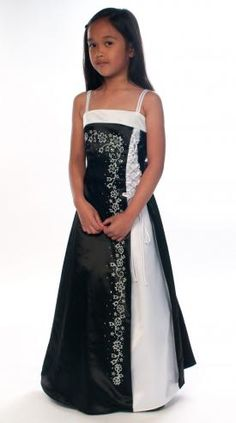 Black satin children's bridesmaid dress with white trim 6-14y Supplied by Justdresses.co.uk