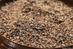 Le concassage sépare l'amande de la coque en éclatant les fèves. Les peaux et les germes sont éliminés. On obtient le grué qui sont les fragments comestibles de la fève. #Grué #Cacao #Chocolat