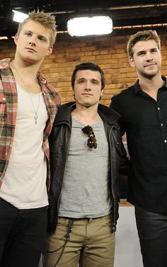 Alexander Ludwig, Josh Hutcherson, and Liam Hemsworth. My new favorite picture.