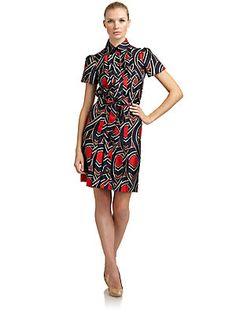 Moschino Cheap And Chic Silk Twill Deco Print Shirtdress