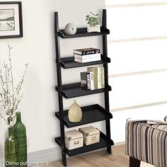 5-Tier-Leaning-Ladder-Shelf-Unit-Modern-Wall-Rack-Black-Storage-Display-179cm